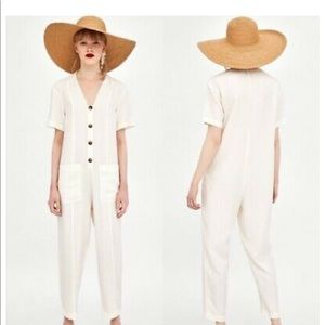 ZARA White Linen Jumpsuit
